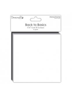 Набор заготовок для открыток с конвертами Назад к основам, 15х15 см 12 шт, Dovecraft