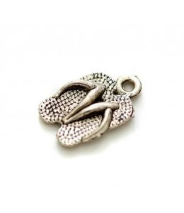"""Подвеска металлическая для скрапбукинга """"Пляжные тапочки"""", 3D, 8х16 мм, цвет античное серебро, ScrapBerry's"""