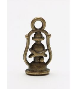 """Подвеска металлическая для скрапбукинга """"Керосиновая лампа"""", 7х17 мм, цвет античная бронза, ScrapBerry's"""