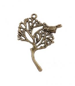 """Подвеска металлическая для скрапбукинга """"Дерево с птичкой"""", 29х41 мм, цвет античная бронза, ScrapBerry's"""