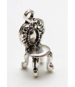 """Подвеска металлическая для скрапбукинга """"Стульчик барокко"""", 3D, 10х27 мм, цвет античное серебро, ScrapBerry's"""