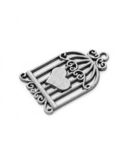 """Подвеска металлическая для скрапбукинга """"Клетка с сердцем"""", 20х35 мм, цвет античное серебро, ScrapBerry's"""