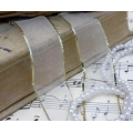 Декоративная лента органза белая с золотым люрексом, 2,3 см, длина 1 м, ScrapBerry's
