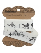 "Декоративная хлопковая лента с рисунком ""Птицы"", 25 мм, 2м, ScrapBerry's"