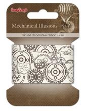 """Декоративная хлопковая лента с рисунком """"Механизмы"""", 20 мм, 2м, ScrapBerry's"""