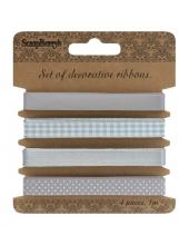 Декоративные ленты, набор Светло-серый, 4 шт. по 1 м, ScrapBerry's