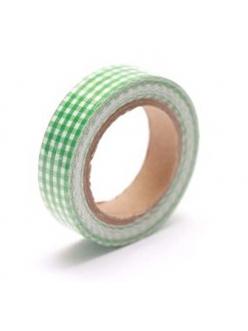 Тканевый скотч с рисунком Зелёная клетка, 15 мм, длина 4 м, ScrapBerry's