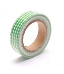 """Тканевый скотч с рисунком """"Зелёная клетка"""", 15 мм, длина 4 м, ScrapBerry's"""