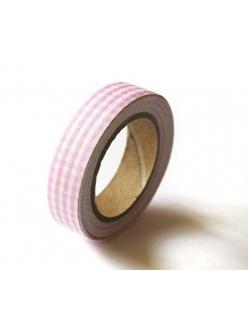 Тканевый скотч с рисунком Розовая клетка, 15 мм, длина 4 м, ScrapBerry's