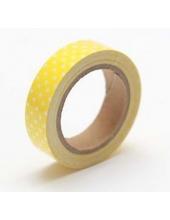 """Тканевый скотч с рисунком """"Жёлтый в горошек"""", 15 мм, длина 4 м, ScrapBerry's"""