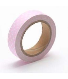 """Тканевый скотч с рисунком """"Розовый в горошек"""", 15 мм, длина 4 м, ScrapBerry's"""