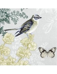 "Салфетка для декупажа ""Птица и бабочка"", 33х33 см, Германия"