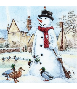"Салфетка для декупажа ""Веселый снеговик"", 33х33 см, Германия"