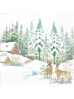 Новогодняя салфетка для декупажа Зимняя сцена, 33х33 см, Германия