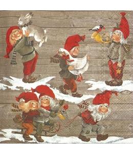 """Салфетка для декупажа IHR-102312 """"Рождество и гномы"""", 33х33 см, Германия"""