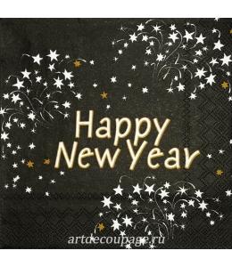 "Салфетка для декупажа IHR-102393 ""Happy New Year"", 33х33 см, Германия"