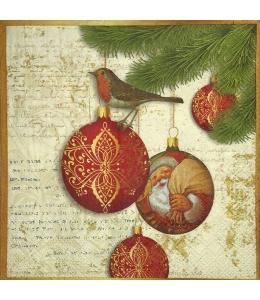 """Салфетка для декупажа IHR-102503 """"Новогодние шары и птичка"""", 33х33 см, Германия"""