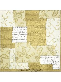 Салфетка новогодняя для декупажа Музыкальный коллаж золотой,  33х33 см, Германия