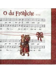 "Салфетка для декупажа IHR-102506 ""Санта и ноты"", 33х33 см, Германия"