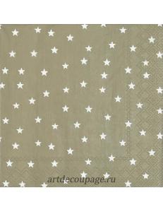"Салфетка для декупажа IHR-102523 ""Звёзды на бежевом"", 33х33 см, Германия"