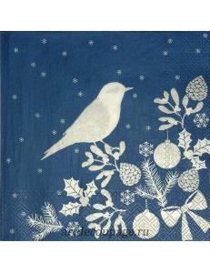 "Салфетка для декупажа IHR-102527 ""Птичка, синий с серебром"", 33х33 см, Германия"