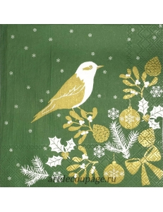 """Салфетка для декупажа IHR-102528 """"Птичка, зеленый с золотом"""", 33х33 см, Германия"""