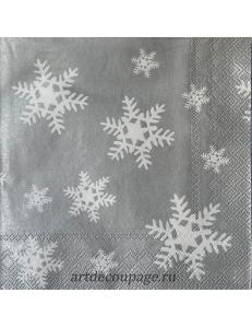 "Салфетка для декупажа IHR-102538 ""Снежинки на серебристом фоне"", 33х33 см, Германия"