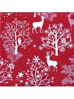 Салфетка новогодняя для декупажа Олени в лесу, красный фон,  33х33 см, Германия