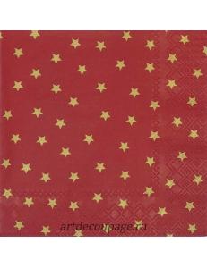 """Салфетка для декупажа IHR-102553 """"Золотые звезды на красном"""", 33х33 см, Германия"""