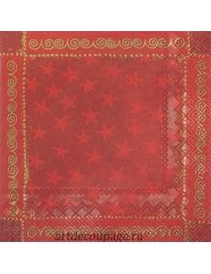 "Салфетка для декупажа IHR-102556 ""Звезды на красном"", 33х33 см, Германия"