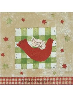 Салфетка новогодняя для декупажа Рождественская птица,  33х33 см, Германия