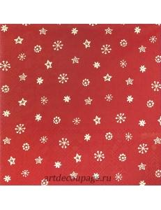"""Салфетка для декупажа IHR-102558 """"Звезды и снежинки на красном"""", 33х33 см, Германия"""