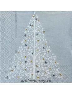 "Салфетка для декупажа IHR-102570 ""Новогоднее дерево"", 33х33 см, Германия"