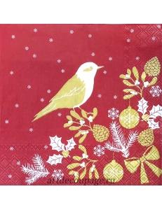 """Салфетка для декупажа IHR-102575 """"Птичка, красный с золотом"""", 33х33 см, Германия"""