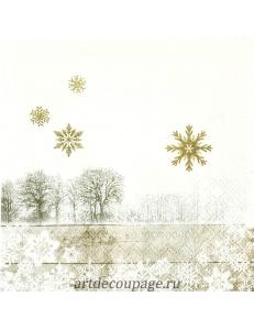 """Салфетка для декупажа IHR-102593 """"Зимний пейзаж и золотые снежинки"""", 33х33 см, Германия"""