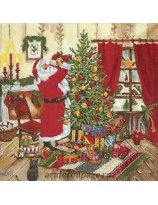 "Салфетка для декупажа IHR-102602 ""Санта наряжает ёлку"", 33х33 см, Германия"