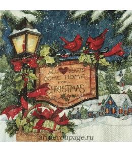 """Салфетка для декупажа IHR-102657 """"Рождественская вывеска"""", 33х33 см, Германия"""