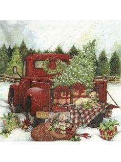 Салфетка новогодняя для декупажа Рождественский грузовик,  33х33 см, Германия