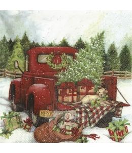 """Салфетка для декупажа IHR-102808 """"Рождественский грузовик"""", 33х33 см, Германия"""