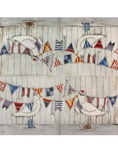 "Салфетка для декупажа IHR-201002 ""Чайки и морские флажки"", 33х33 см, Германия"