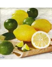"Салфетка для декупажа IHR-201056 ""Лимоны и лаймы"", 33х33 см, Германия"