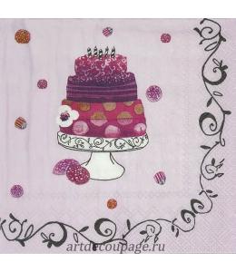"""Салфетка для декупажа IHR-201066 """"Ягодный торт"""", 33х33 см, Германия"""