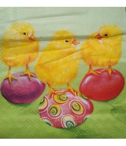 """Салфетка для декупажа IHR-201084 """"Цыплята и пасхальные яйца"""", 33х33 см, Германия"""