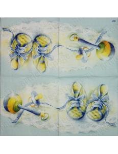 "Салфетка для декупажа IHR-201102 ""Пинетки и соска"", 33х33 см, Германия"