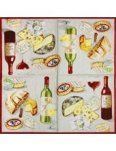 "Салфетка для декупажа IHR-201108 ""Вино и сыр"", 33х33 см, Германия"