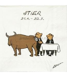 """Салфетка для декупажа IHR-201155 """"Знаки зодиака - Телец"""", 33х33 см, Германия"""