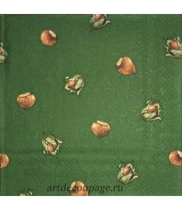 """Салфетка для декупажа IHR-201228 """"Орехи на зеленом"""", 33х33 см, Германия"""
