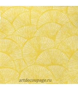 """Салфетка для декупажа IHR-201238 """"Желтый узор"""", 33х33 см, Германия"""