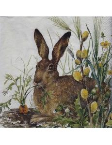 "Салфетка для декупажа IHR-201243 ""Кролик и морковь"", 33х33 см, Германия"