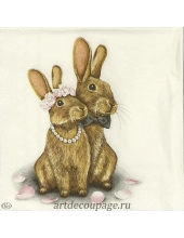 "Салфетка для декупажа IHR-201246 ""Кролики"", 33х33 см, Германия"